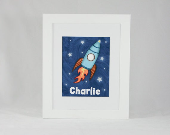 Space Theme Rocket Ship Child Nursery Decor 11 x 14 Kids Wall Art Print -  Personalized Children's Spaceship - Outer Space Kids Wall Decor