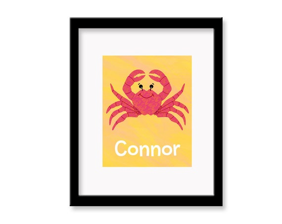 Personalized Crab Children's Room Decor Wall Art Print - 8 x 10 print
