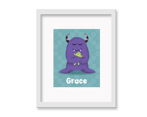 Cute Personalized Monster Art - Personalized Love Monster Children's Nursery Room Monsters Decor 8 x 10 print