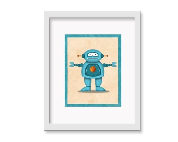 """Robot Print """"Fred"""" - 11"""" x 14"""" Children's Decor Wall Art Print - Children's Retro Robot Theme Room Decor"""