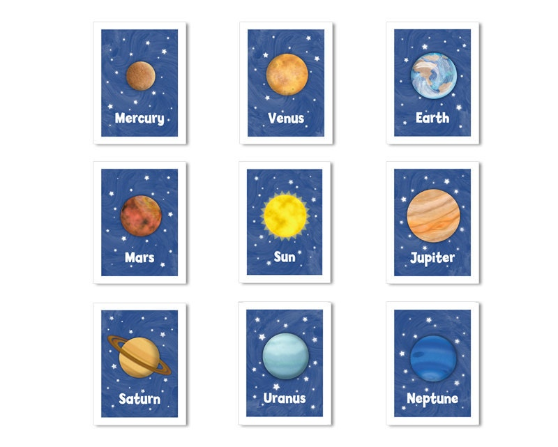 Solar System Children's Wall Decor 5 x 7 Planets by krankykrab