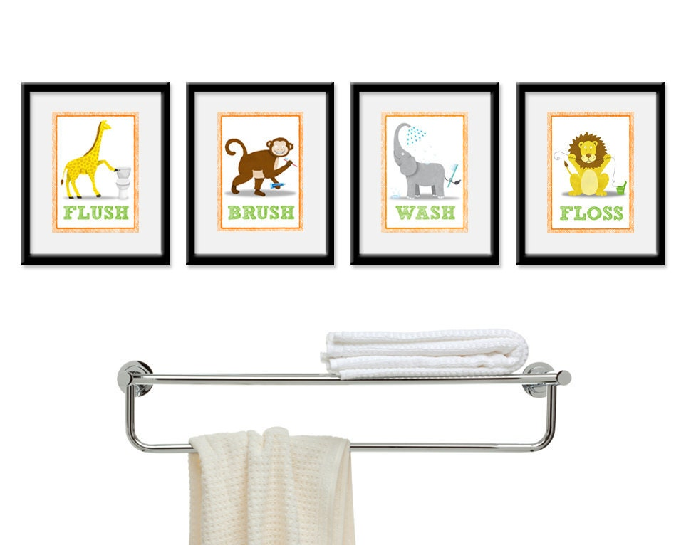 jungle bathroom kids art set of four 5 x 7 bathroom decor prints kids decor  children safari wall art bathroom art kids bathroom. Kids Bathroom Decor Sets  Modern Kids Bathroom Decor With Unique