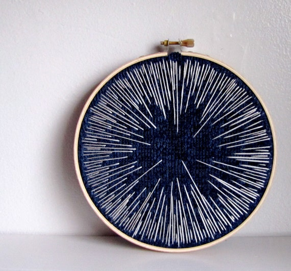 RESERVED FOR SARAH - Limited Edition Made Order Embroidery wall art decor - Hyperspace gradient