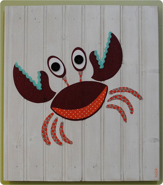 Pablo - The Crab, Original Collage, Children's Wall Art, Nursery and Baby Artwork, Room Decor, Under the Sea
