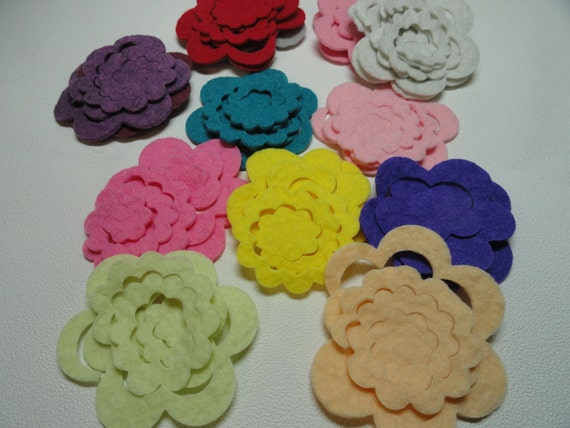 CUSTOM ORDER, Twenty Wool Roses, 20 DieCut Roses, DIY Kit, 3 D Rose Appliques