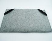 "Mac Air 11"" or 13"" Sleeve - 100% Merino Wool - Gray - Landscape - with Swiss Velvet Elastics"