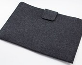"""Macbook Air 11""""  or 13"""" Sleeve with Closure - 100% Merino wool - Charcoal - Landscape"""