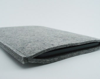 Kindle, Nook or Kobo Sleeve - 100% Merino wool - Gray - Portrait