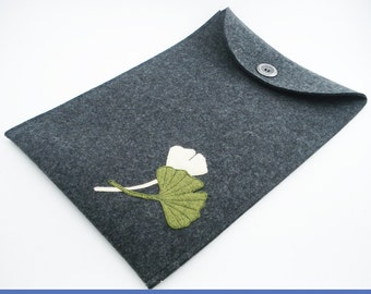 Mac Air Case with Gingko Leaves - 100% Merino Wool - Charcoal - Portrait