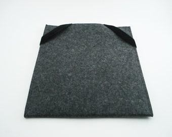 iPad, Playbook or Xoom Sleeve - Charcoal - 100% Merino Wool - Portrait with Swiss Velvet Elastics