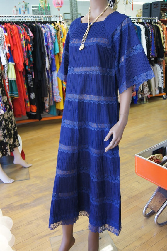 70's Bohemian Pintuck Maxi Dress Lace Bell Sleeve