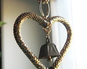 GOLD HEART  and mesh hanging art