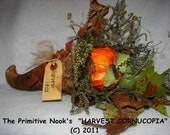 Primitive Brand NEW Thanksgiving Fall  HARVEST CORNUCOPIA  Mailed Paper Pattern (c)2011