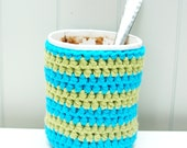 SALE Ice Cream Cozy- Blue and Green Stripes