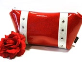 Ruby Red Glitter Makeup Bag with Your Choice of Trim - MADE TO ORDER