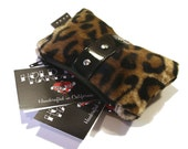 Leopard Coin Purse with Your Choice of Vinyl Trim, Faux Fur, Rockabilly Bag, Retro Pouch - MADE TO ORDER