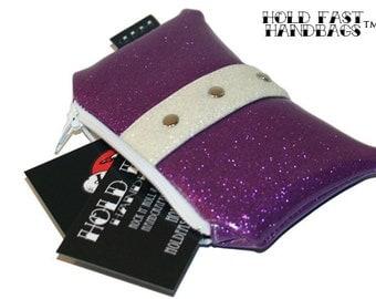 Purple Glitter Coin Purse - Vinyl Pouch - Rockabilly Bag - Sparkle Vinyl - Glitter Bag - Purple Purse - MADE TO ORDER