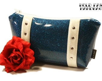 Royal Blue Sparkle Cosmetic Bag with Your Choice of Trim, Glitter Makeup Bag - MADE TO ORDER