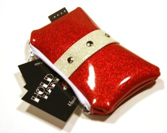 Red Coin Pouch, Sparkle Vinyl, Rockabilly Purse, Retro Purse, Red Coin Purse - MADE TO ORDER
