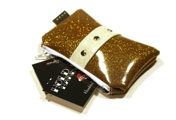 Gold Vinyl Coin Pouch - Gold Sparkle Bag - Sparkle Coin Purse - Pin Up Bag - Rockabilly Purse - MADE TO ORDER