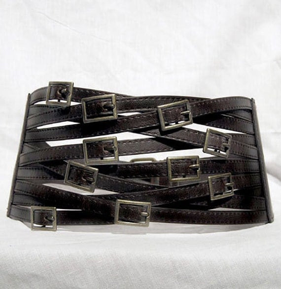 "Steampunk Zombie Apocalypse Goth Cyberpunk Belt Corset Buckles Black Goth Faux Leather LARP Punk Small 24"" to Medium 31"""