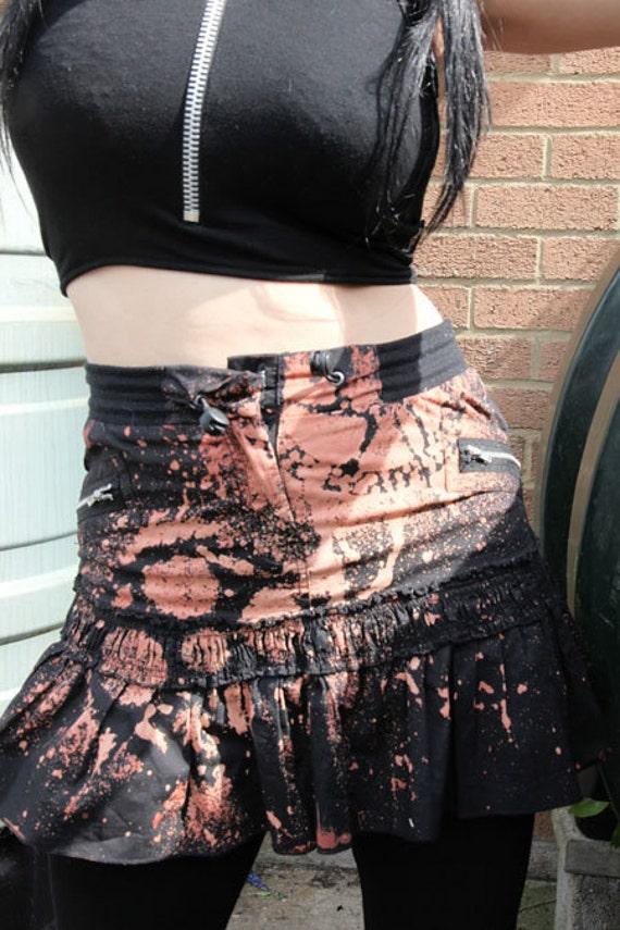 Zombie Killer Post Apocalyptic Goth Industrial Trashed Cog Biohazard Mini Skirt