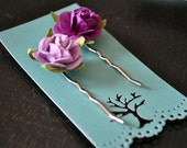Pair of purple rosebud bobby pins