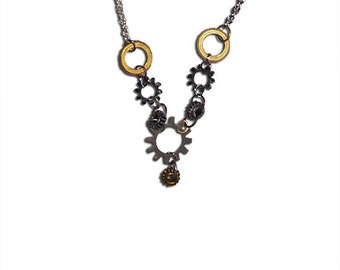 Gears and Chainlink Steampunk Necklace