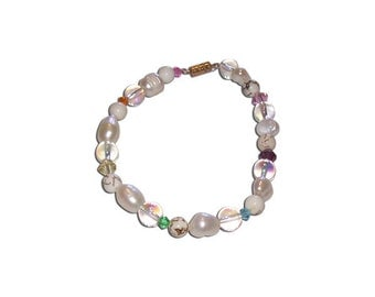 White and Clear Glass with Rainbow Crystals