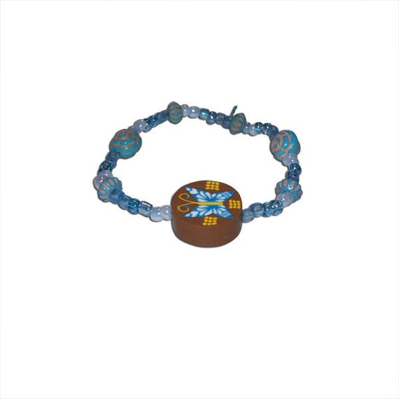 Blue and Teal Glass, Wood, and Plastic Beaded Bracelet