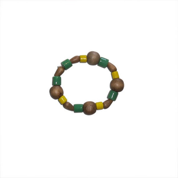 Green and Yellow Glass and Dark Wood Beaded Bracelet (large bracelet)