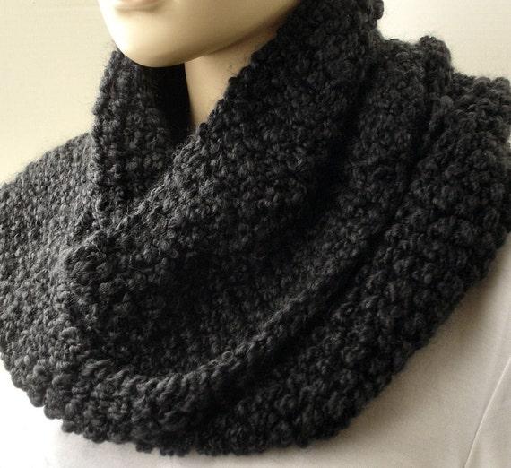 Hand Knit Cowl Seed Stitch Cowl Black by GrandmasStash on Etsy