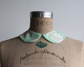 Mint Floral Peter Pan Collar . Fabric Necklace . Detachable Neck Wear . MADE TO ORDER by Vera Vague