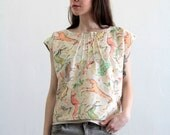 Handmade Blouse . Animal Print . Drawing . Pastel Colors . OOAK