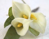 Calla Lily Boutonniere - Groom And Groomsmen - Fall Winter Spring Wedding - Lapel Pin On - Father Of The Bride Or Groom - Men