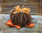 Vine Pumpkin - Wedding Ring Holder - Fairy Tale Inspired - Harvest Ring Bearer - Fall Autumn Weddings - Brown Orange - Fall Leaves