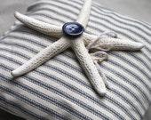 Nautical Starfish Ring Bearer Pillow - Navy Blue And White Stripe