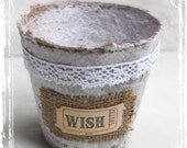 Pot Of Wishes - Lace And Burlap - Catch All Container - Cottage Wedding - Spring Weddings - Shabby Chic - White Brown - Table Decor - Garden