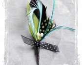 Whimsical Boutonniere - Playful And Quirky - Groom Or Groomsmen - Carnival, Alice In Wonderland, Polka Dot, Mad Hatter, Unique Weddings