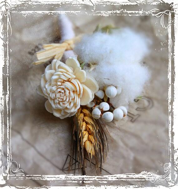 Хлопок Болл Бутоньерка - натуральный хлопок Болл, пшеницу, сало ягоды - Свадебные Страна Elegance - Жених Groomsmen - Южный джентльмен
