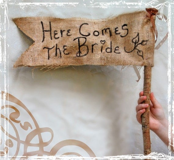 Here Comes The Bride - Rustic Burlap Wedding Banner - Spring Summer Fall  Winter Weddings - Flower Girl - Ring Bearer - Country Sign