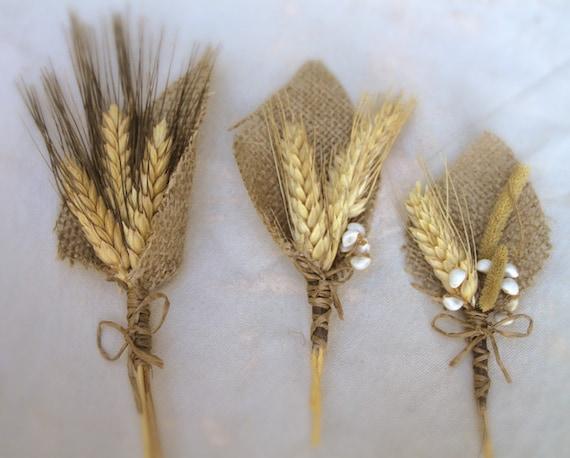 Пшеницы и Burlap Бутоньерка - идеальное решение для сельской местности или стране свадьбы - жених Groomsmen - Весна Лето Осень-Зима Осень - Barn