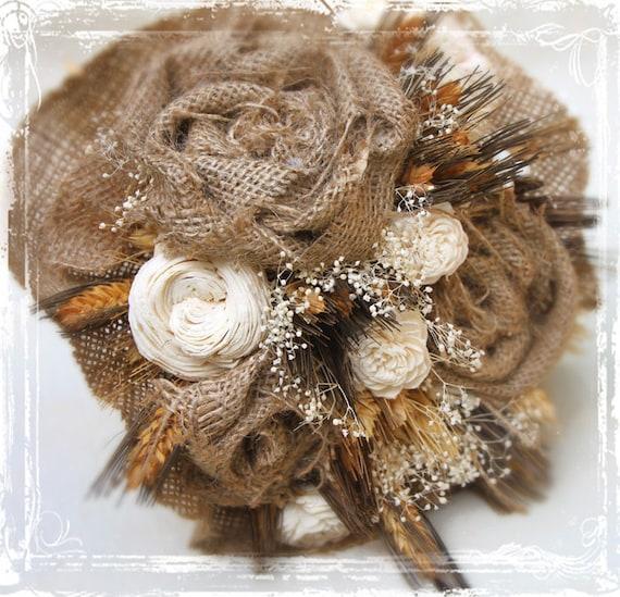 Страна Шарм Букет - Пшеница Sola Цветы и Burlap - Сельский Свадьба - Сухие цветы Брауна Белый Страна Западной