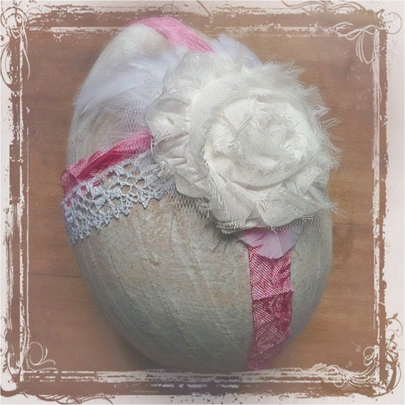 Пасхальное яйцо - Потертый Chic - бумаги маше - может быть использовано кольцо на предъявителя - Пасха Свадебные