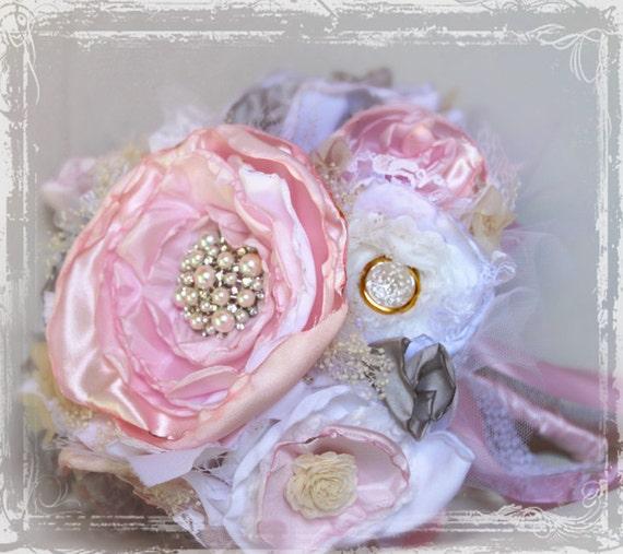 Ткань цветов Свадебный букет, с жемчугом и стразами Броши - Custom-Выбор цвета - Pink Cream