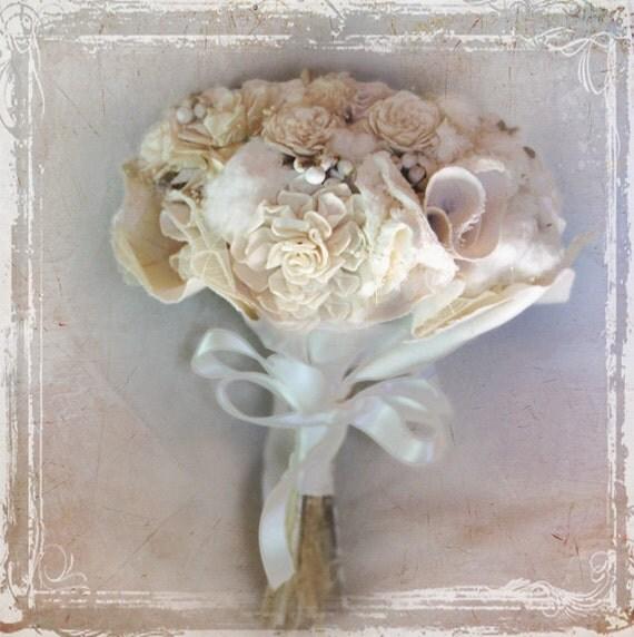 Крем и хлопка букет невесты - Аксессуары - Страна - природный коробочками хлопка - ткани и сухих цветов слоновой кости - Свадьба Летние