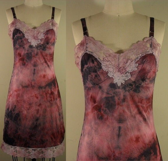 brookes general upcycled hand dyed full slip dress in wine and black- ooak