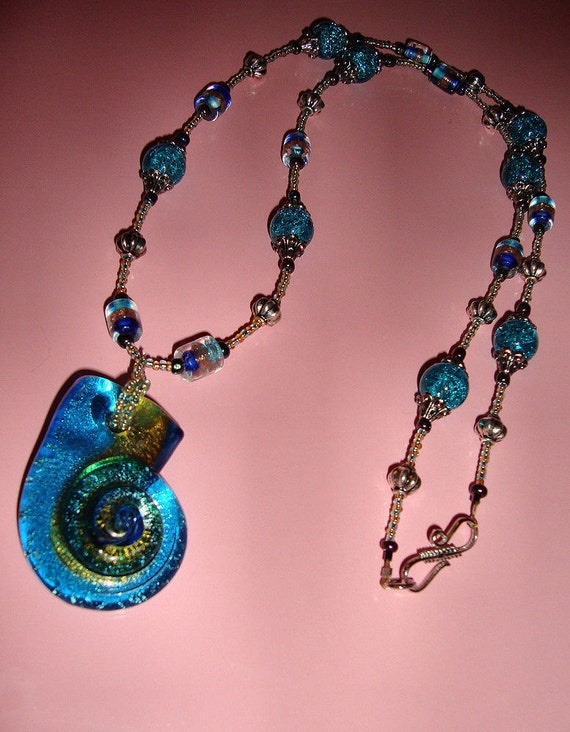 Extra Long Layered Crystal Beaded Necklace W/ Glass Blown Sea Shell