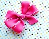 Hot Pink w/White Stitching Hair Bow - Medium Size