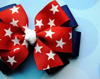 Patriotic Stars Layered 4th of July Hair Bow